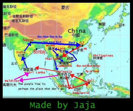 Map for our Asias Countries trip...
