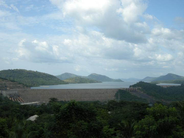 akosombo dam on volta river in Ghana(view from volta hotel)