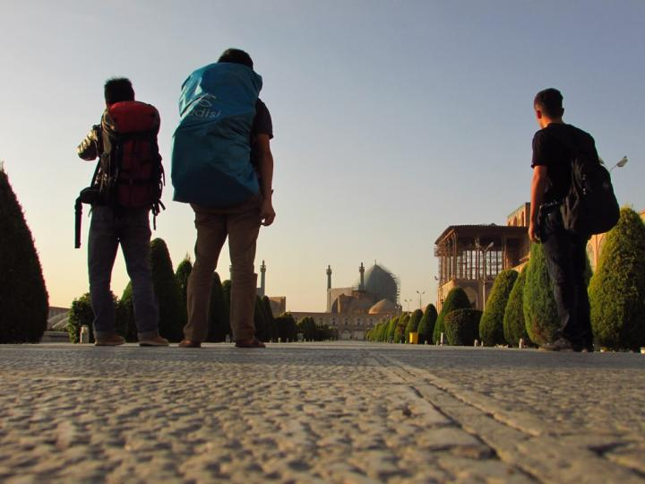 Esfahan with backpack.