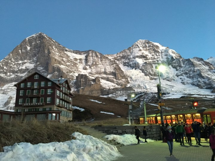 Last train of the day at Kleine Scheidegg